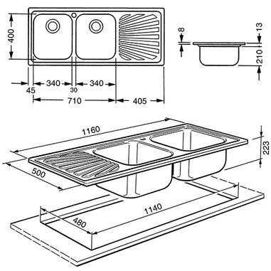 Smeg APM116D lavello Lavello montato su piano Rettangolare Acciaio inossidabile