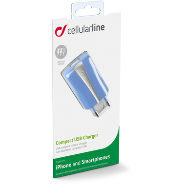 Cellularline USB Charger Compact - Universale Caricabatterie a 5W compatto Blu
