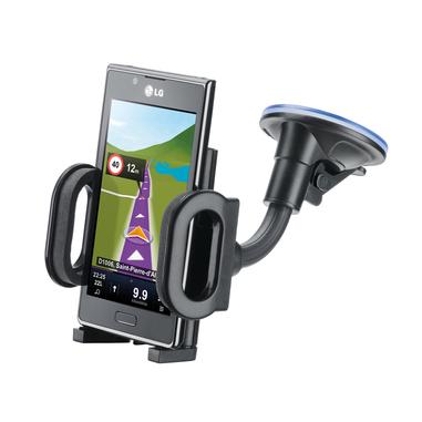 Cellularline Pilot Techno - Universale Supporto auto per smartphone con ventosa super grip Nero