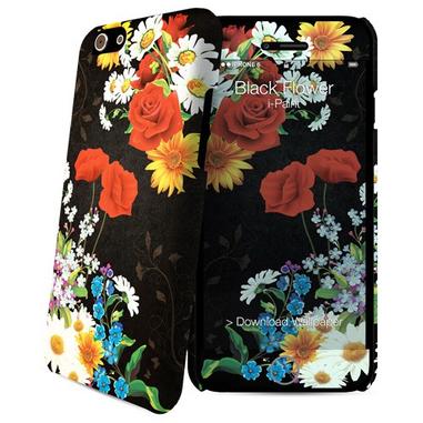 i-Paint Black Flower custodia per cellulare