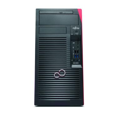Fujitsu CELSIUS W580 Intel Xeon E E-2244G 16 GB DDR4-SDRAM 512 GB SSD Micro Tower Nero, Rosso Stazione di lavoro Windows 10 Pro