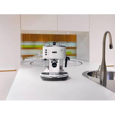 DeLonghi ECO 311.W Macchina per espresso 1.4L 2tazze Nero, Acciaio inossidabile, Bianco
