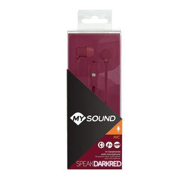 MySound Speak Fluo Auricolare In-Ear con Microfono e Tasto di Risposta, Bordeaux