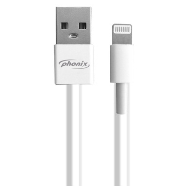 Phonix USB & GT Apple con Connettore 8-pin Cavo Dati e/o Ricarica, Lunghezza 300cm - Bianco