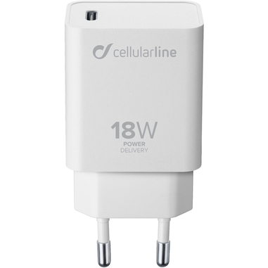 Cellularline USB-C Charger 18W - iPhone 8 or later and iPad Pro (2018) Caricabatterie da rete USB-C 18W per la carica più veloce di iPhone 8 o successivi con USB-C to Lightning Bianco