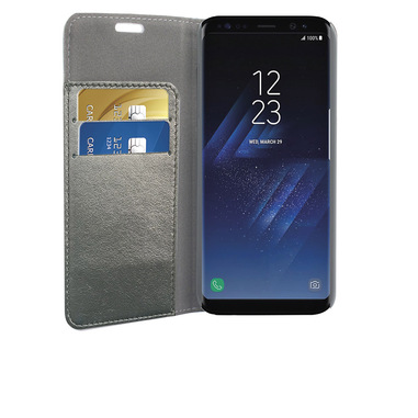 Phonix Custodia a Libro in Ecopelle Sparkling per Samsung Galaxy S8 Plus - Grigio Metallico