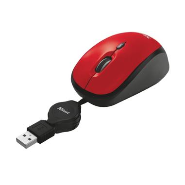 Trust YVI mouse USB 2000 DPI Ambidestro Nero, Rosso