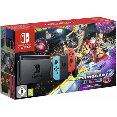 Nintendo Switch con Joy-Con Rosso Neon e Blu Neon  + Mario Kart 8 Deluxe (download)