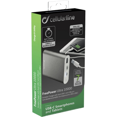 Cellularline FREEPOWER ULTRA 10000 - USB-C Caricabatterie portatile con USB Type-C Silver
