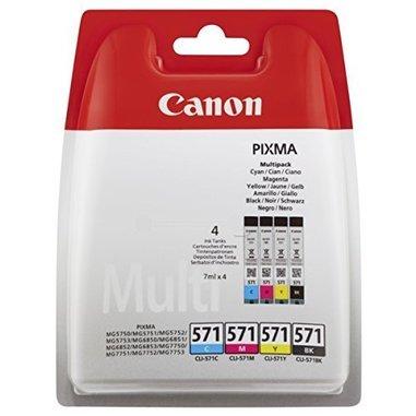 Canon CLI-571 Multipack 7ml 7ml Nero, Ciano, Giallo cartuccia d'inchiostro
