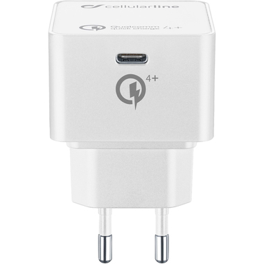 Cellularline USB-C Charger 30W - iPad Pro (2018) and MacBook Caricabatterie da rete USB-C 30W per la carica veloce di iPad Pro e MacBook Bianco